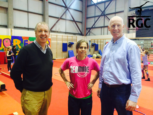 John Walsh (right) visiting Renmore Gymnastics with his brother Brian Walsh TD, shown here with Head Coach Sally Batley
