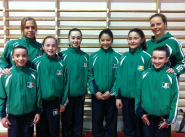 Gymnasts: Kate Molloy, Emma Slevin, Sarah Hynes, Emer Shimizu, Aishling Fuller and Jane Heffernan. Coaches: Sally Batley and Elaine Ryan