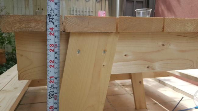 ガーデンテーブル テーブルまでの高さ