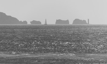 ISO100, F6.3, 1/2000 sec - I loved the haze over the Needles, and this is a shot, where timing was important as the sailing yacht appears midway between the rocks.