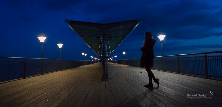 My daughter on the pier at Night