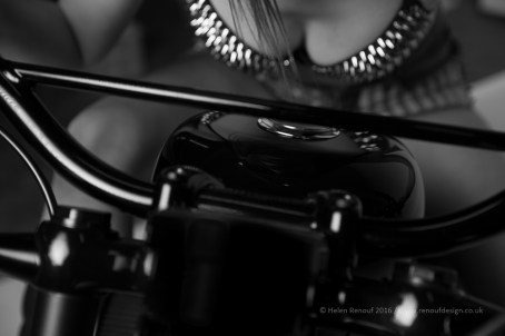 An intimate shot of one of the models on their bike