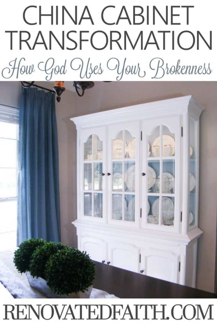 In spite of it's damage and deterioration, the transformation of the china cabinet helped me to realize how God uses our own brokenness to do his best work.