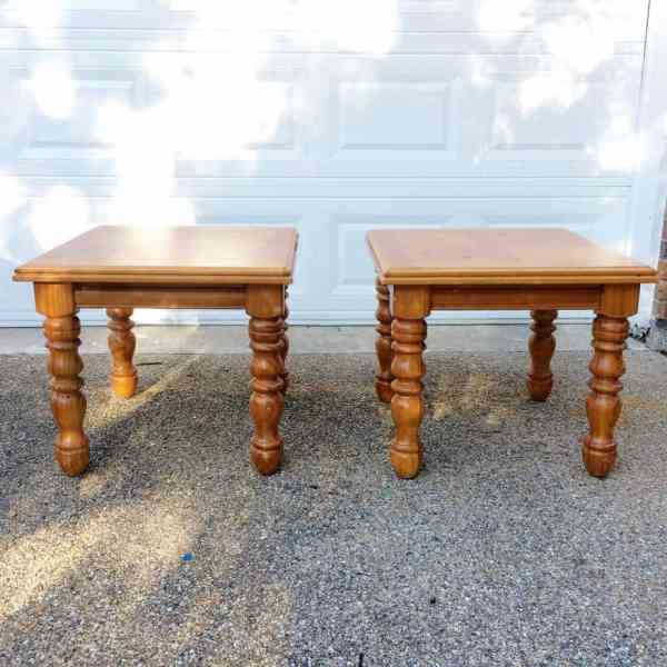 two stained wooden end tables