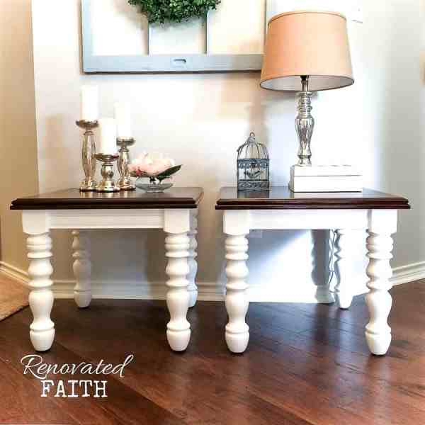 two end tables with lamp and candles
