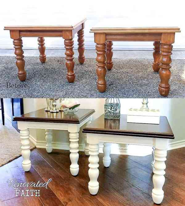 before and after of side tables