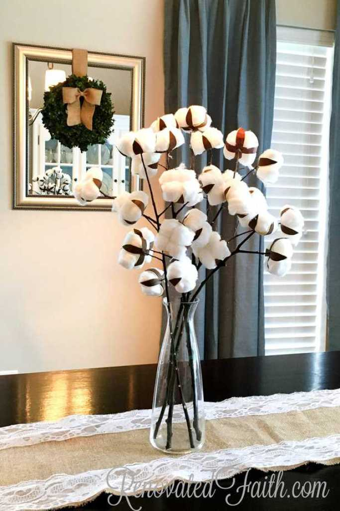 DIY Cotton Stems #farmhouse #cottonstems #diycotton