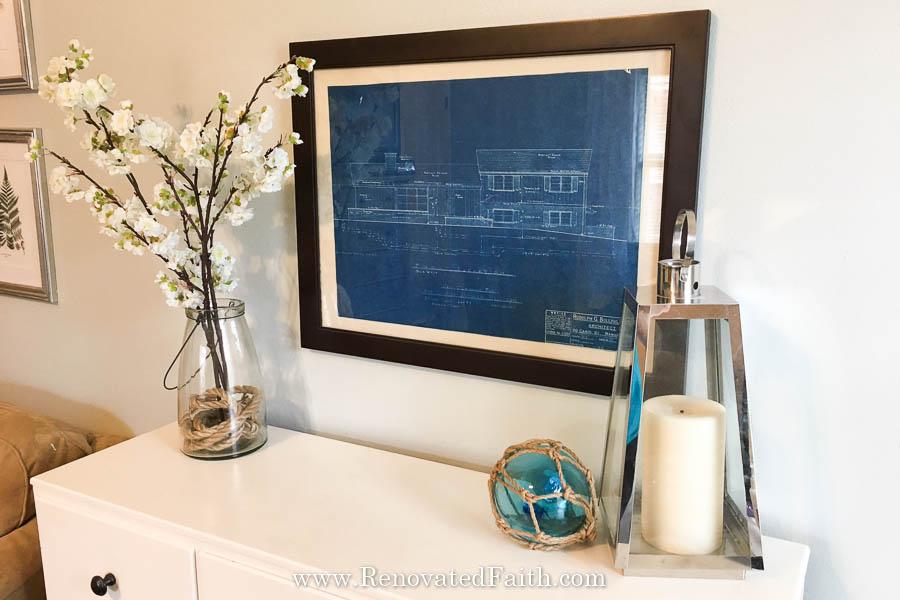 framed blueprint
