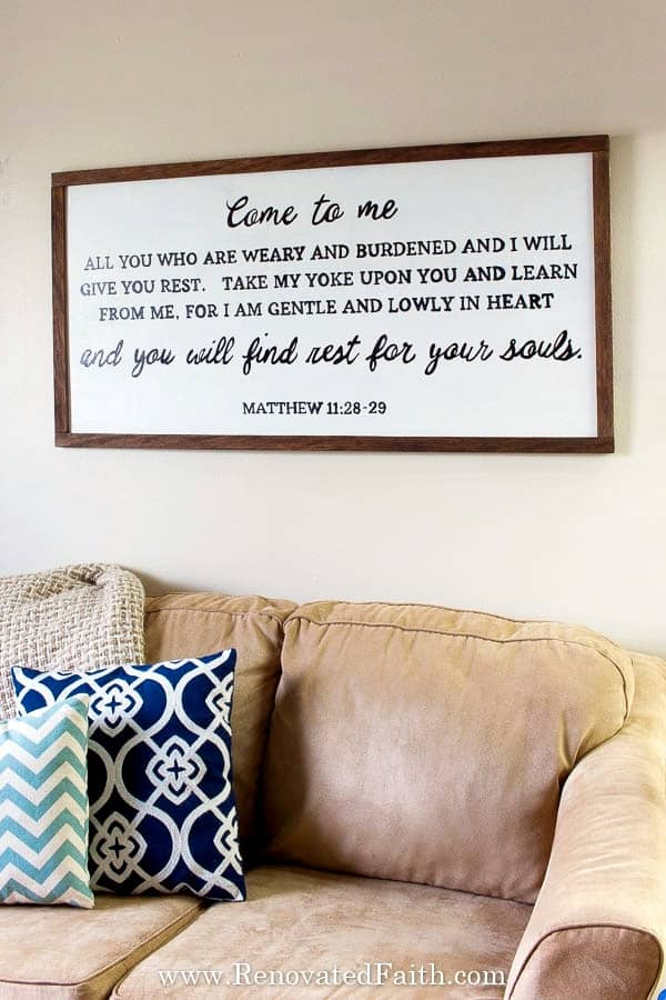 8 cute ways to decorate with scripture in your home decor all under farmhouse sign with bible verse malvernweather Gallery