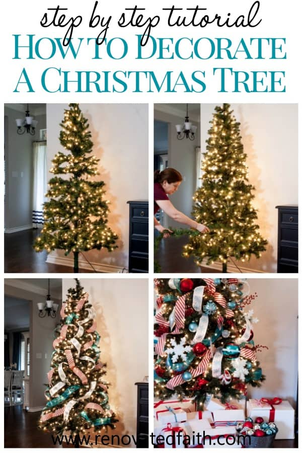 how to decorate a christmas tree step by step adding ribbon on tree ideas and hacks