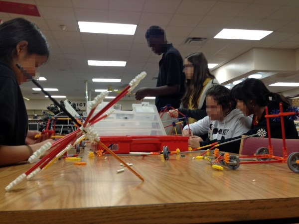 8th graders creating with K'nex