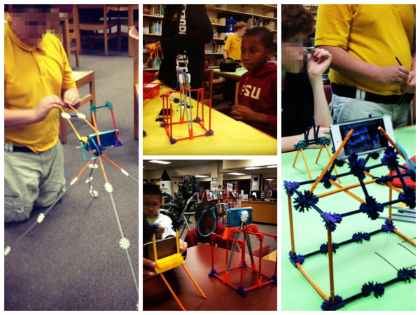 Students testing out their tripod prototypes