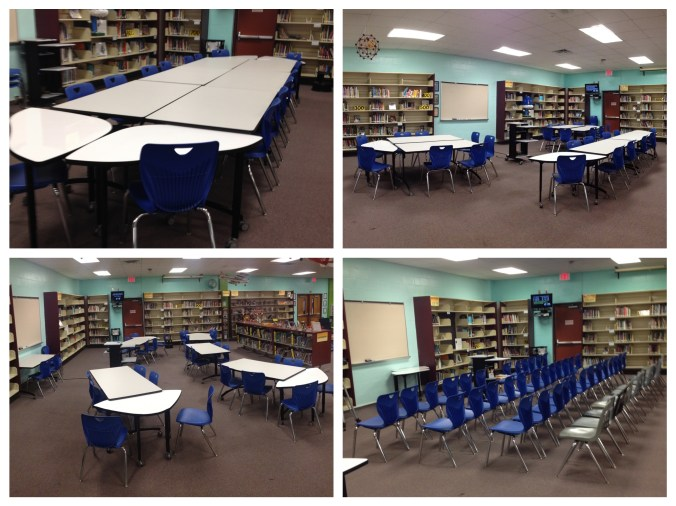 The new tables and chairs offer a variety of layouts