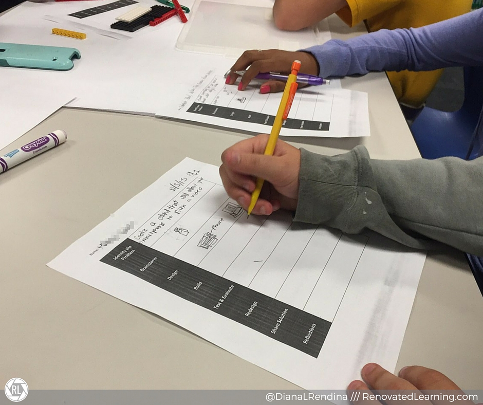 Student using the design process worksheet to document her group's learning. | RenovatedLearning.com