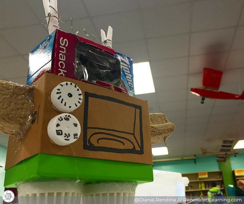 Cardboard robot made during Stewart Makers Club | RenovatedLearning.com