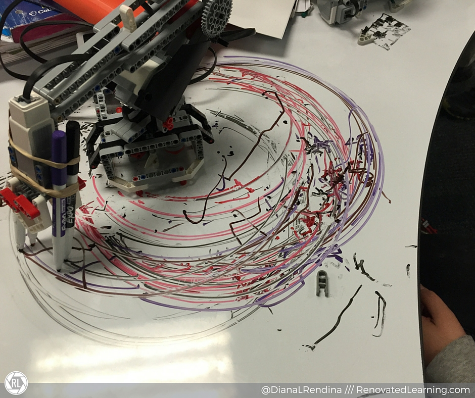 LEGO Mindstorms art bot: A student used LEGO Mindstorms and dry-erase markers to design his own art bot.