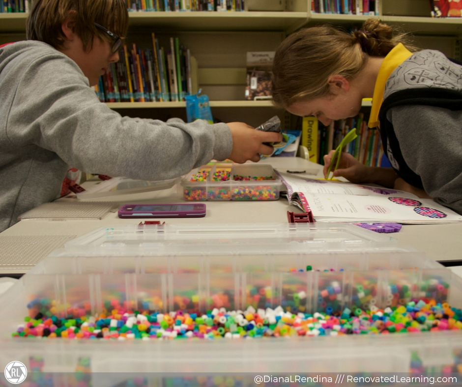 Both boys and girls love using Perler beads in our makerspace.