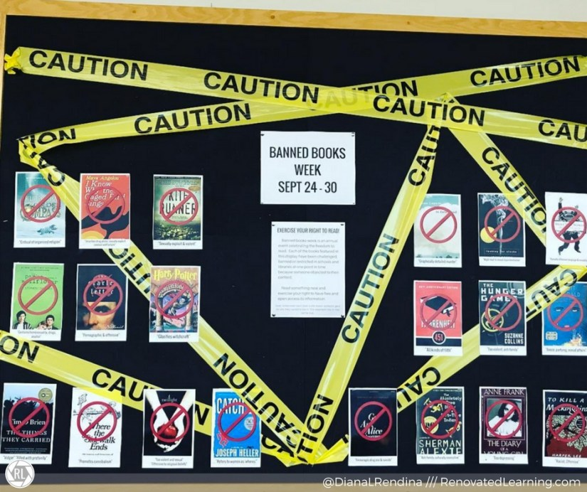 Bulletin board in the hallway outside the library for Banned Books Week