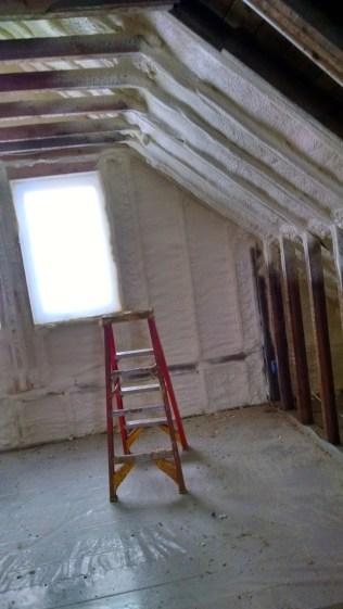 Progress! Second floor getting spray foam insulation. Yay!