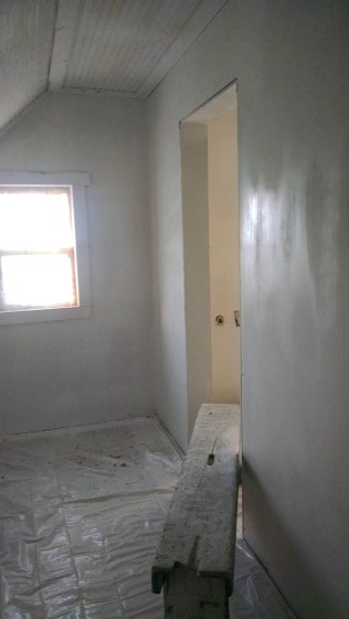 The master closet all primed and ready for paint!
