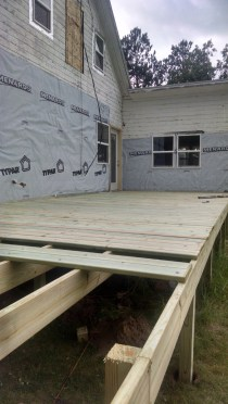 Joe and I tackled our 800 square foot deck this weekend, two days and we're almost done!