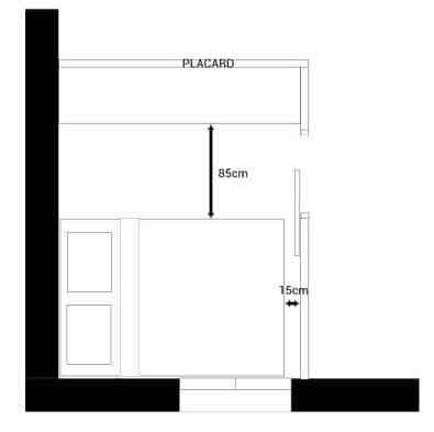 Si tu manques de place pour une chambre de 9m2, supprime la circulation sur 2 côtés du lit