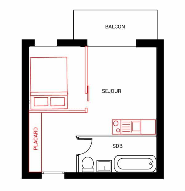 Installer la chambre à la place de la cuisine empêche d'intégrer du rangement et ne permet pas d'optimiser la grande entrée.