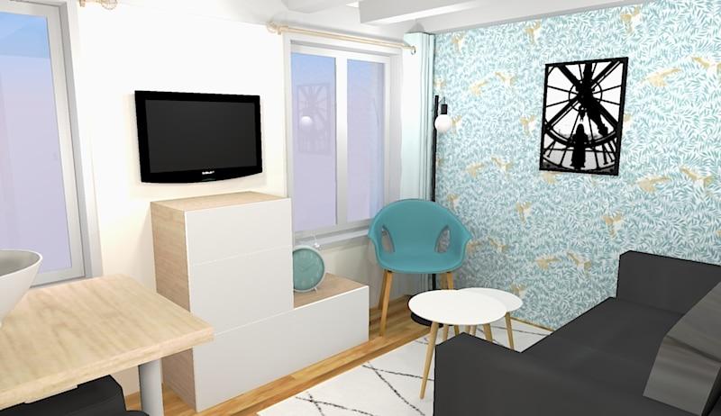 Avant/Après : un espace optimisé , une cuisine sublimée et du rangement dans ce studio de 18 m²