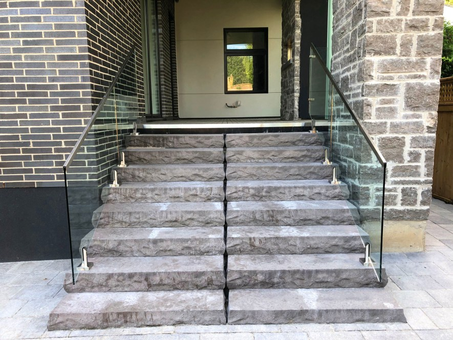 Renaissance Rail stainless steel and glass railings, spigot posts, on rear entrance in Etobicoke, ON