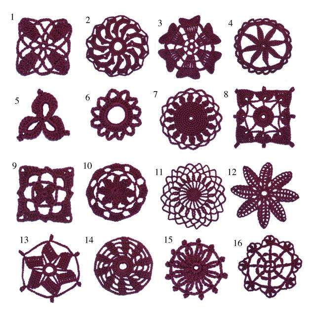 16 crochet lace motifs