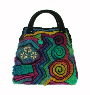 Rainbow freeform handbag