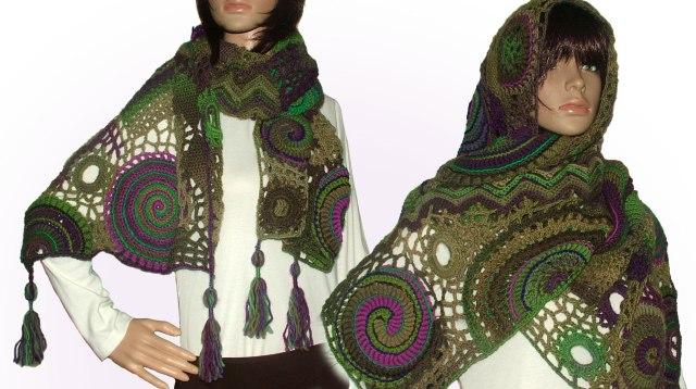 spiral, scallop shawl