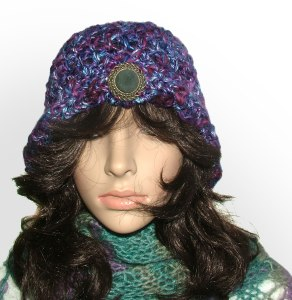 purple brooch cloche