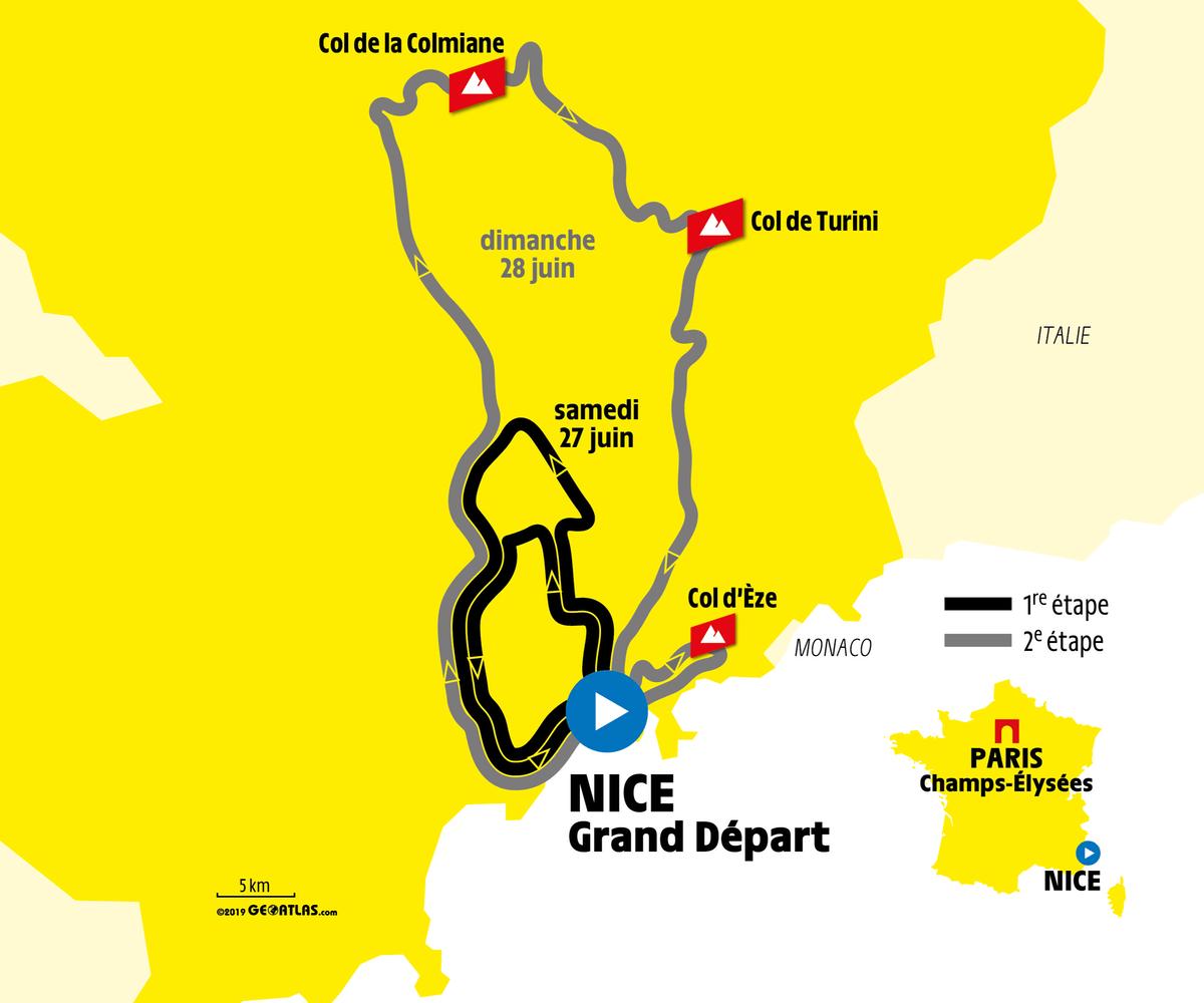 Tour de France grand depart map Nice 2020