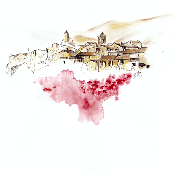 Lourmarin landscape watercolour and ink Provence