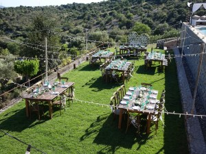 Overhead view of wedding table set up
