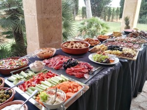 A large buffet spread