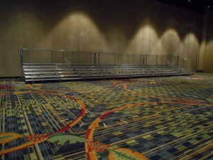 Indoor convention center bleacher rental