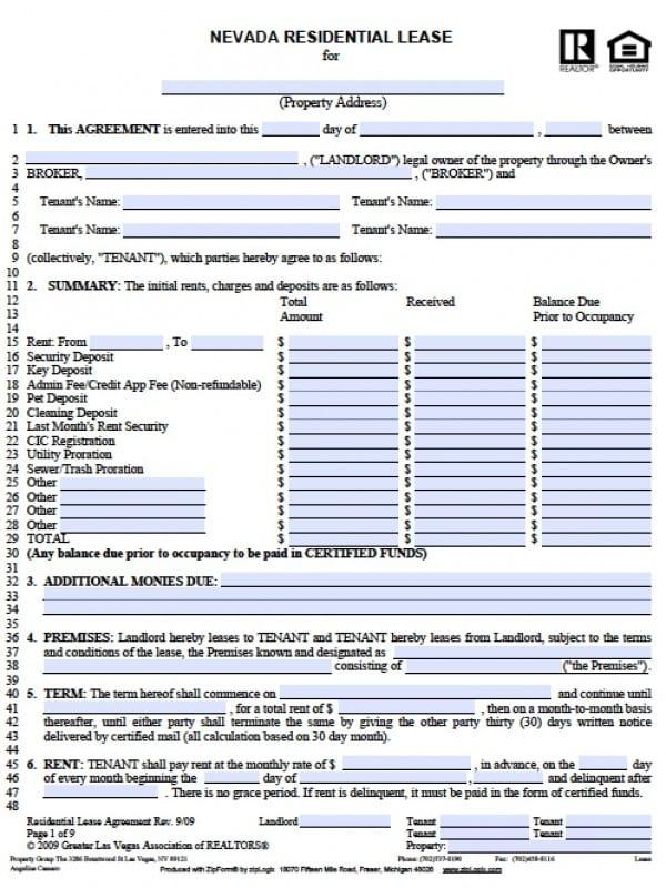Missouri House Rental Application