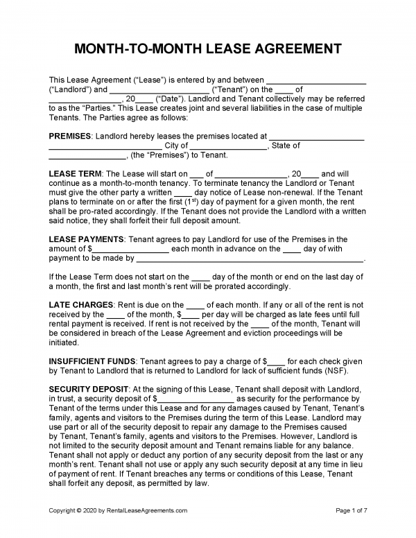 Within the form, users should provide the necessary information. Free Month To Month Rental Agreement Pdf Word