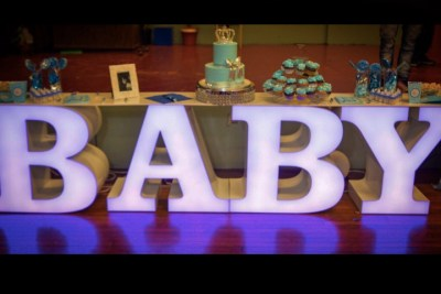 LED Light up BABY letter table rental