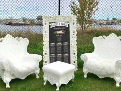 white throne chair rentals