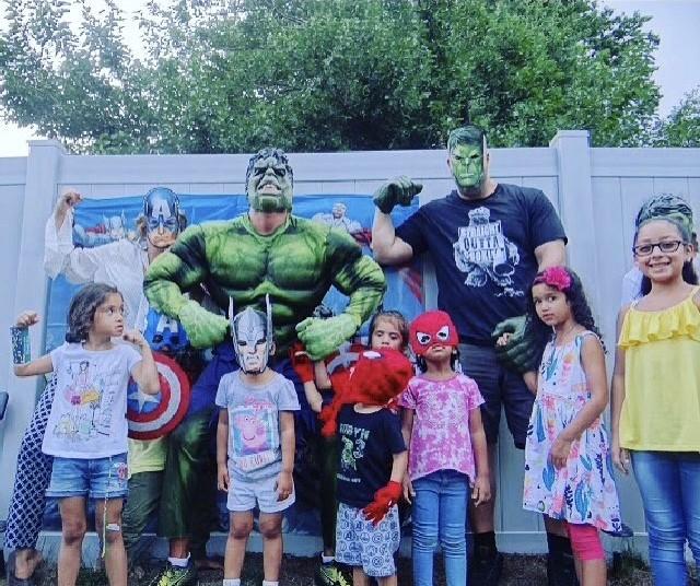 Hulk visits birthday boy