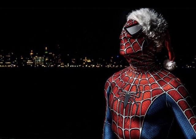 Spider Man waiting for Santa Claus