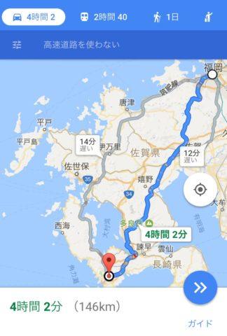 福岡長崎間の地図