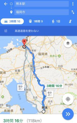 熊本駅から福岡市への地図