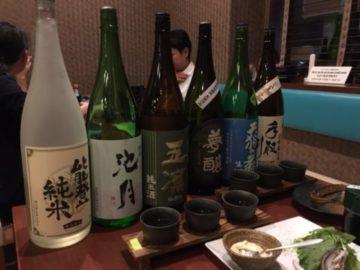 和台の日本酒飲み比べ写真
