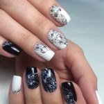 25+ Best White and Black Nails Manicure & Polka Dot Nail 2017