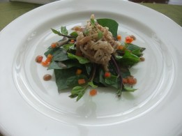 Heart of palm in Tamarind vinaigrette Dressing served on a bed of alugbati