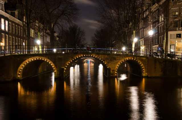 city lights night water